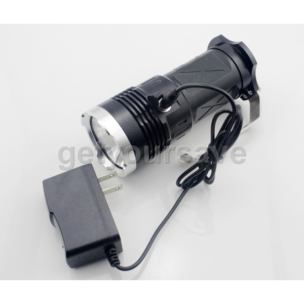 Portable Cree 3 x T6 4000 Lumen 2Mode Police Search LED Flashlight rechargeable(China (Mainland))