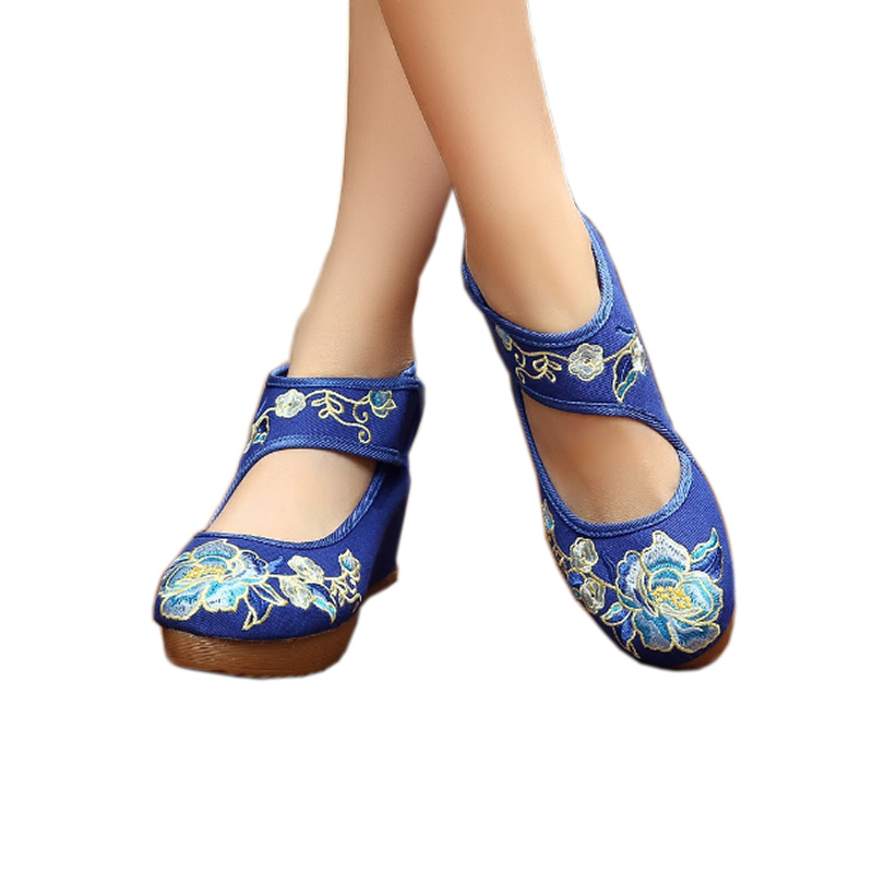 Ballerinas Shoes Women Height Increasing Chinese Dancing Shoes Oxford Sole Blue Flowers Old Beijing Cloth Shoes Footwear Casual(China (Mainland))