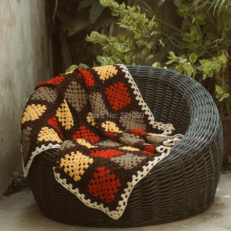 Compra manta de ganchillo hecho a mano online al por mayor - Mantas de crochet a cuadros ...