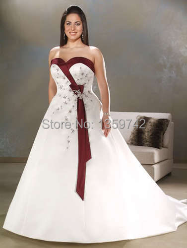 Plus Size White/Ivory&Burgundy/Purple Wedding Dress Bridal Gown US Size 14~24(China (Mainland))