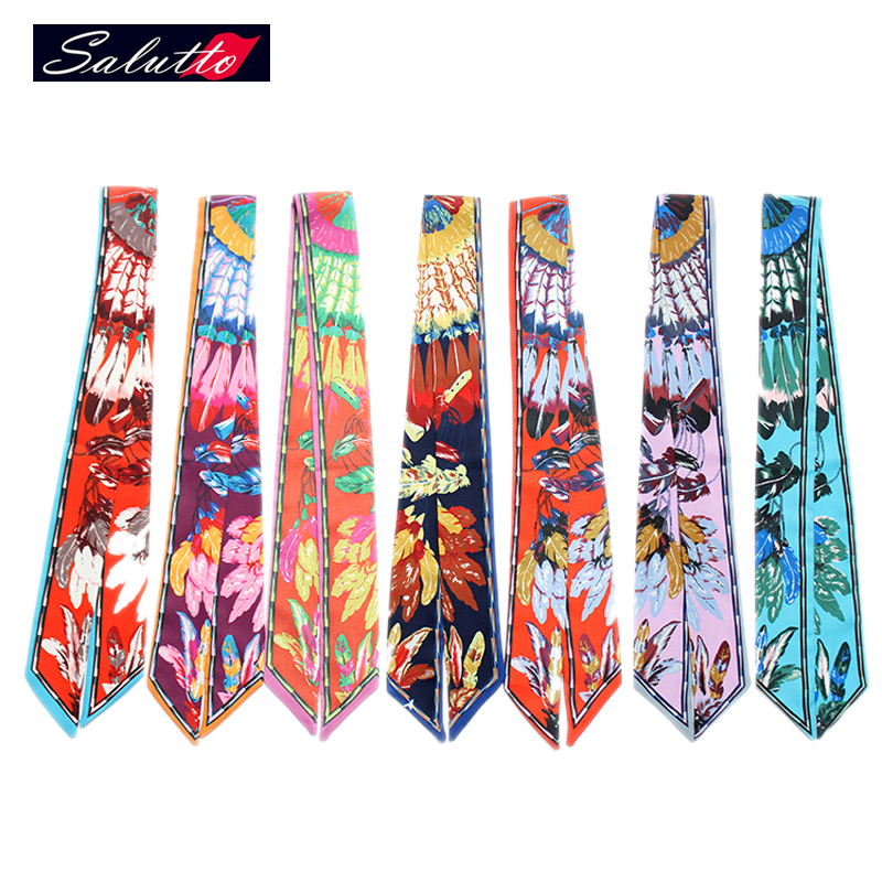 SALUTTO Lady Long Scarf Silk Scarf Small Twilly Ribbon Hair Band Bags Handle Decoration Bow Tie Multifunction Ribbon(China (Mainland))