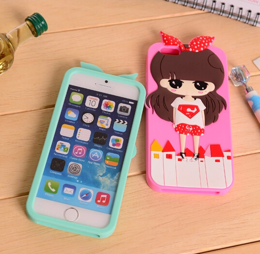 Iphone 6 plus case soft silicon rubber cartoon girl phone protective cover back shell skin Iphone6 5.5 inch - 360 Vibra Audio Co., Ltd. store