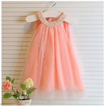 Children's dress fashion baby girls Pure color pearl collar Tutu Princess Dress Girl's dresses summer style  for kids clothes