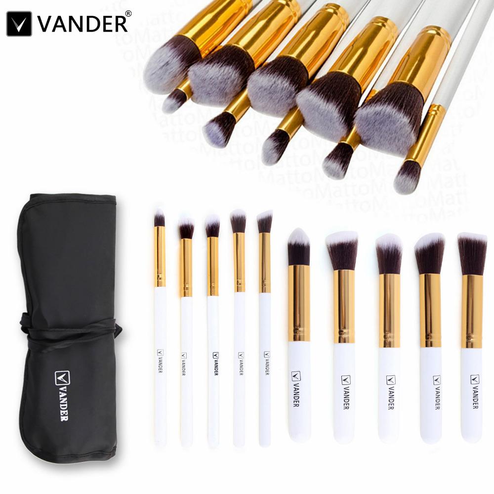 (10 pieces/set) Professional Vander Makeup Brush Sets Foundation Makeup Brushes Bag Cosmetics Powder Soft Kabuki Tools Kits wht(China (Mainland))