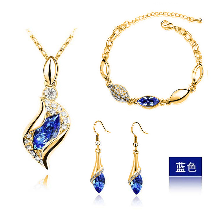Top Quality Elegant luxury design new fashion 24k Rose Gold plated colorful Austrian crystal drop jewelry sets women gift(China (Mainland))