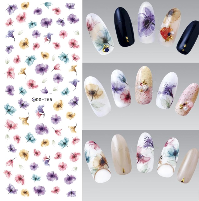 DS255 DIY Designer Water Transfer Nails Art Sticker Colorful Purple Fantacy Flowers Nail Stickers Wraps Foil Sticker manicure(China (Mainland))