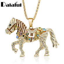 Buy Horse Necklace Multicolor Crystal Rhinestone Long Chain Necklaces Pendants Women Gift M374 for $2.69 in AliExpress store