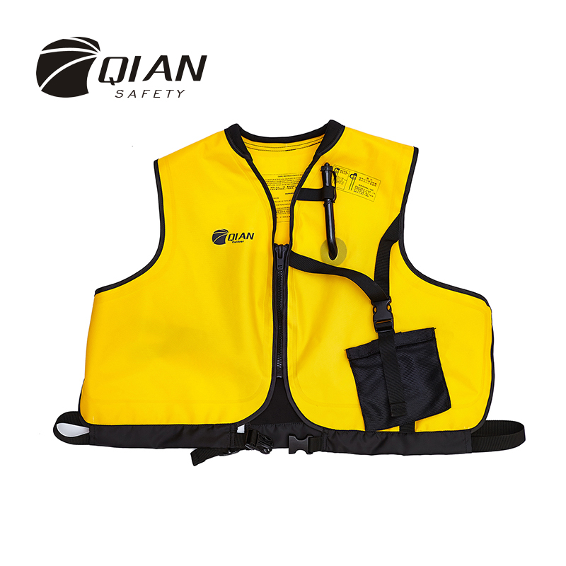 QIAN SAFETY Manual Inflatable Accessorial Life Vest Safe Professional Zipper Style Water Sport Snorkeling Accessorial Lifejacket(China (Mainland))