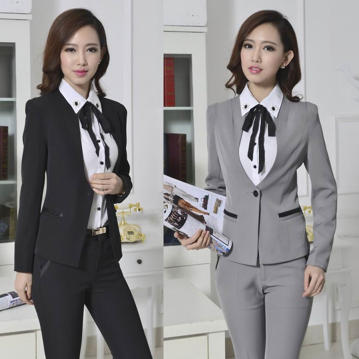 New 2014 Formal Uniform Design Pantsuits Autumn Winter Jacket And Pants Professional Business Work Wear Suits For Office LadiesОдежда и ак�е��уары<br><br><br>Aliexpress