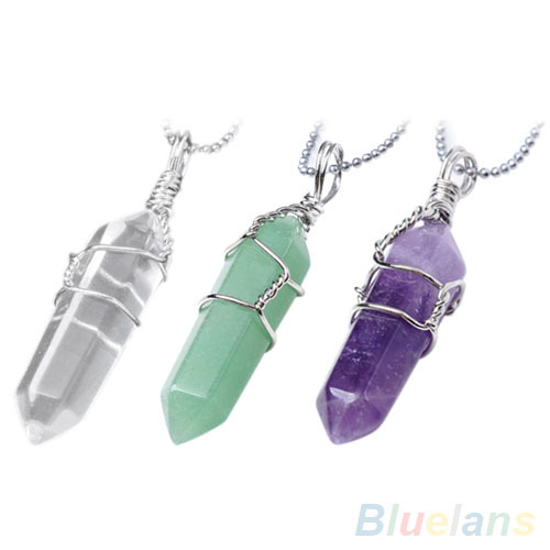 Women Female Chic Natural Crystal Quartz Healing Point Chakra Bead Stone Pendant For Necklace 1K2L(China (Mainland))