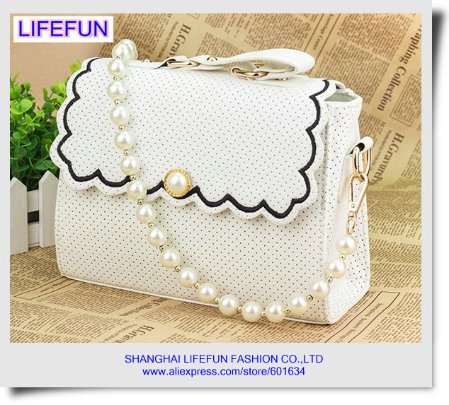 new women ladies girls LEATHER pearl chains tote bag Shoulder messenger bag evening bag handbag LF06487(China (Mainland))