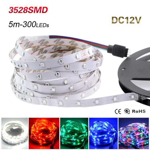New DC12V SMD3528 Led strip lamps 60led/m total 300leds 12V Flexible lights Ribbon Tape Lighting For Home Decoration Lights