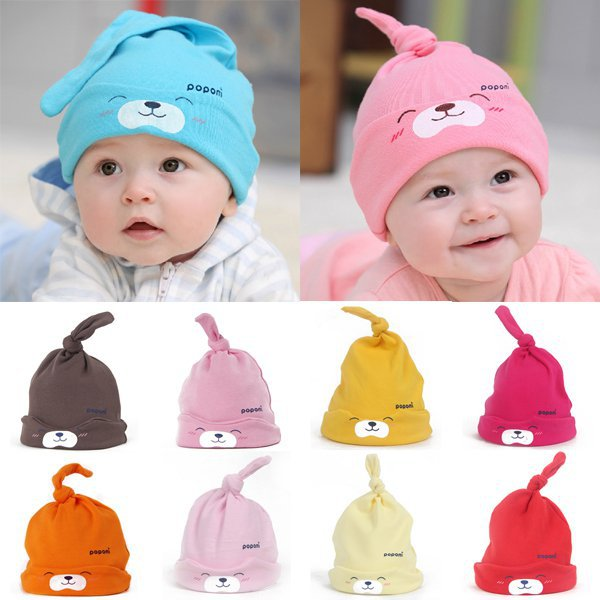 9 Colors Cartoon Baby Girls Boys Toddlers Cotton Sleep Cap Headwear Lovely Hat Dropshipping Freeshipping