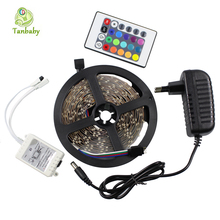 Buy Tanbaby led strip 3528 DC12V 5M 300led flexible ribbon RGB/White/Red +RGB led controller DC connector + 24W power adapter for $7.99 in AliExpress store