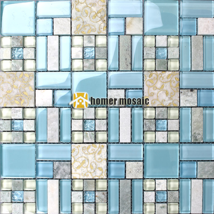blue luminated glass mosaic mixed stone tiles for bathroom shower tiles kitchen backsplash wall tiles HMEE009(China (Mainland))