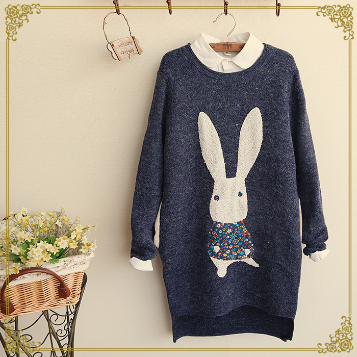 Winter New Women Cute Bunny Patch Side Knit Sweater Female