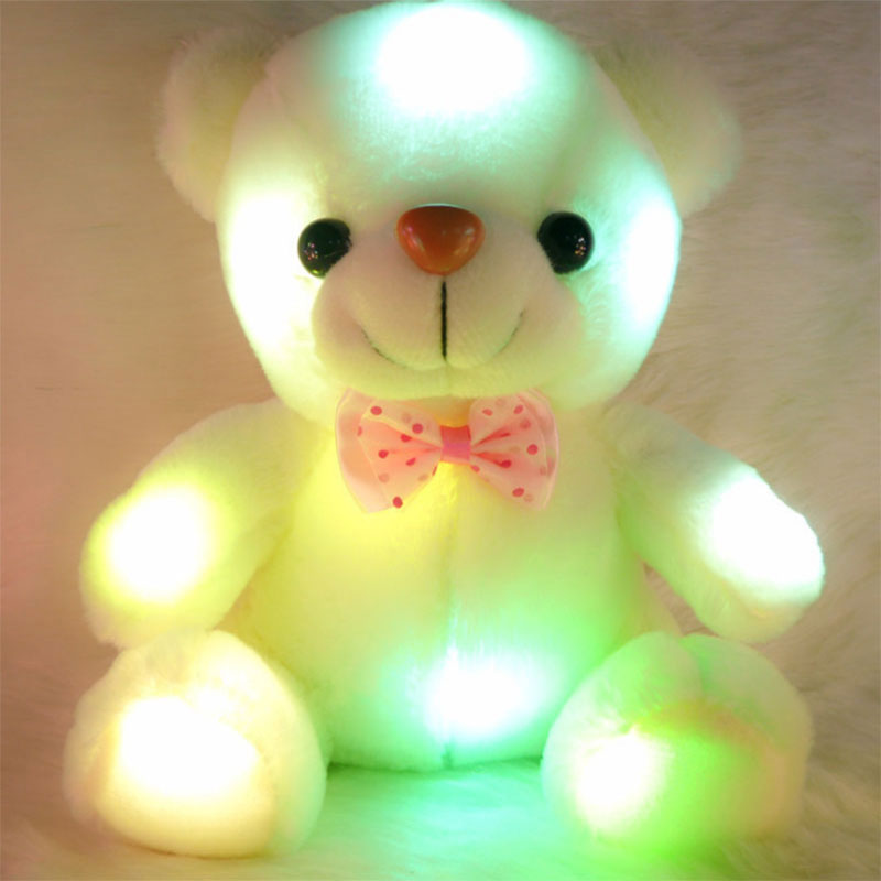 Romantic Valentine Love 22cm LED Light Plush Teddy Bear Colorful Flashing Luminous Stuffed Doll Gifts For Lovers and Kids HT3635(China (Mainland))