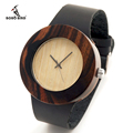 2016 New Natural Black Ebony Wood Watch with Genuine Leader Strap Wooden Wristwatch Retail Box Wood