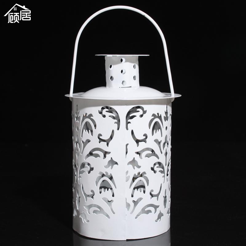 Gu Ju modern minimalist Decoration Glass Lantern style romantic wedding props table iron candlestick(China (Mainland))