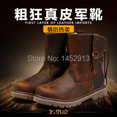 Cool lovers crazy horse leather outdoor martin boots ,strong guy popular medium-leg full grain leather tooling work boots(China (Mainland))