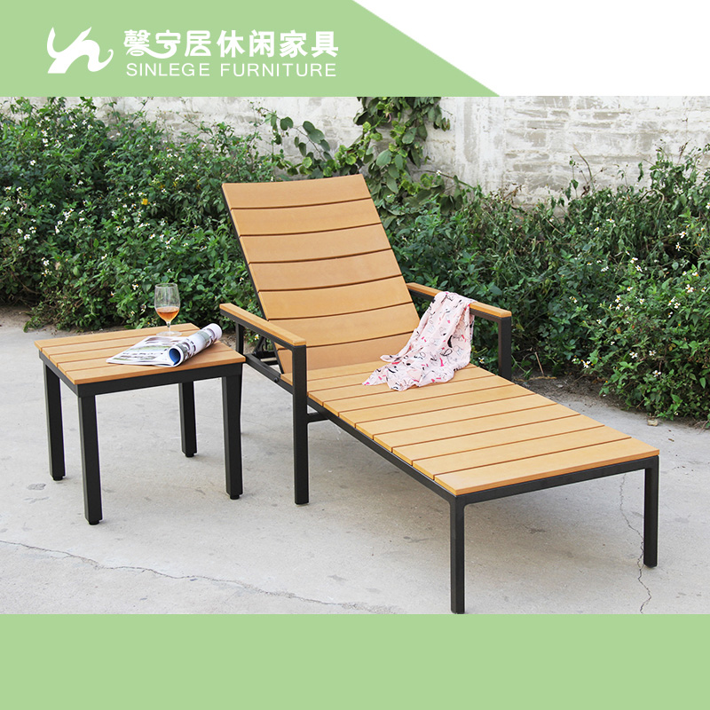 Green wood outdoor chaise lounge chairs garden pool loungers backrest recline(China (Mainland))