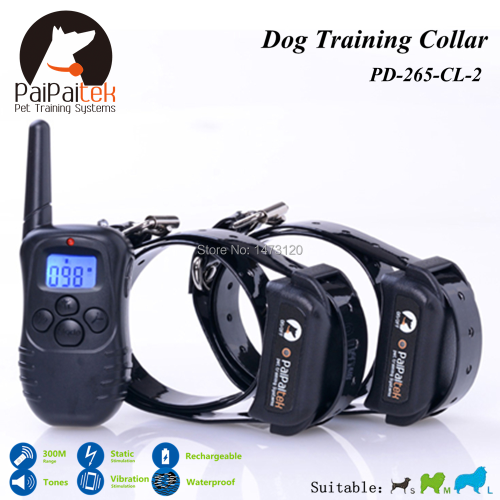 300 Meters Remote Manual Control Electric Dog Training Collar For 2 dogs Shock+Vibra+LCD Display Dog Collar Bark Control Remote