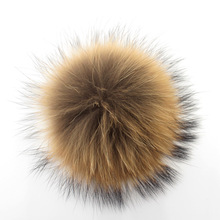 2pcs 10cm real raccoon fur pom poms ball fur hat winter hats for shoes fur cap  key chain accessories(China (Mainland))