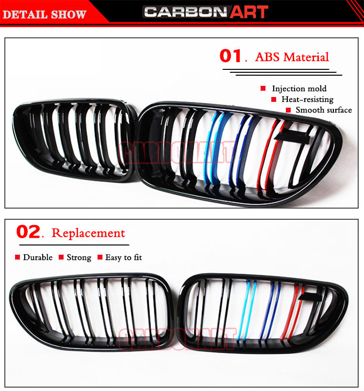 Купить Для 6 серии кабриолет 640ci 650ci F06 F12 F13 640i 650i M6 Производительность дизайн М Трехцветный Cutom Грили 2011 2012 2013 2014