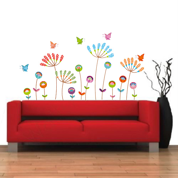 Hot Sale Colorful Cartoon Flower Butterfly Vinyl Decal Art Mural Home Bedroom Decor Removable PVC Wall Sticker 120x60cm(China (Mainland))
