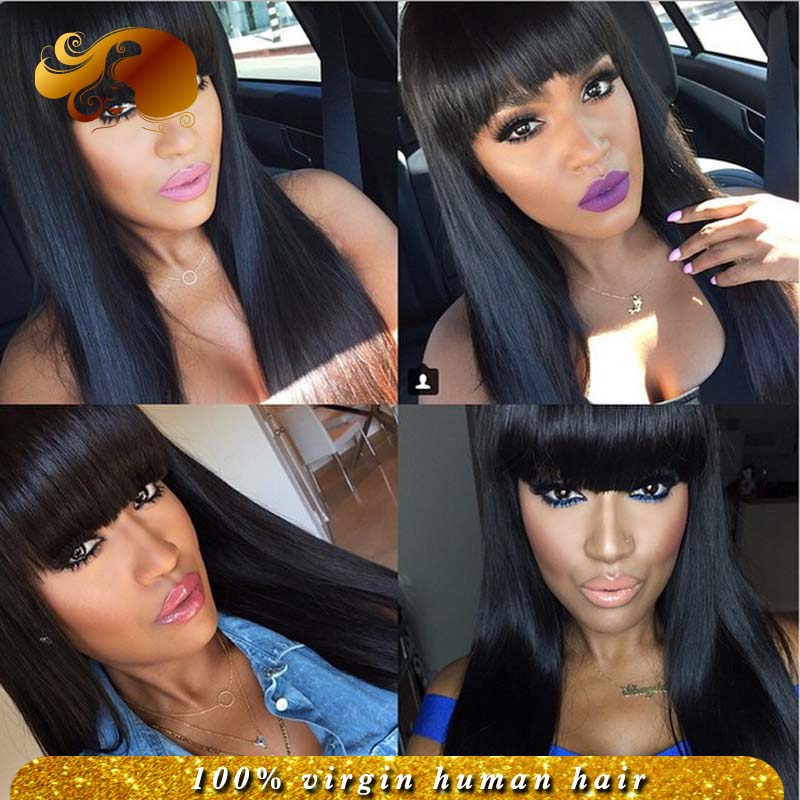 Фотография Brazilian Straight Full Lace Human Hair Wigs With Baby Hair Virgin Hair Glueless Lace Front Wigs With Bangs For Black Women