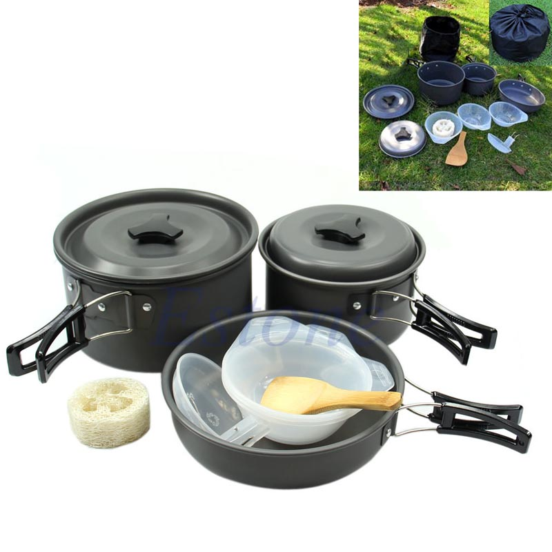 "M112""11Pc Outdoor Camping Hiking Cookware Backpacking Cooking Picnic Bowl Pot Pan Set(China (Mainland))"