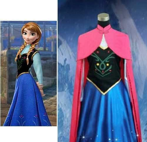 Adult Women's Anna Elsa Costume Cosplay With Cape(China (Mainland))