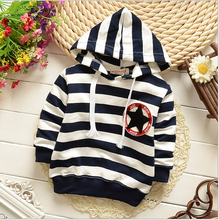 New 2015 Children hoodies baby boys girls Hoodies striped outerwear Children Long sleeve fashion t shirt