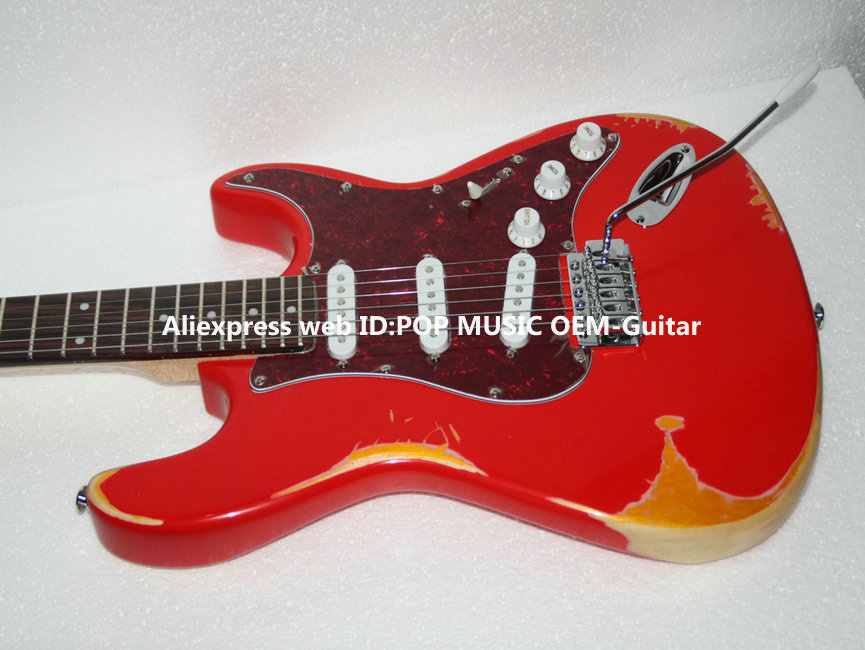 1961 Heavy Relic Electric Guitar Fiesta Red New Arrival Wholesale guitars from China(China (Mainland))