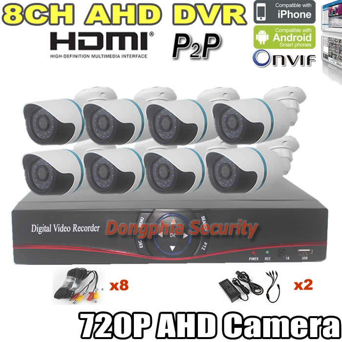 with Cable and Power Supply IR Camera CCTV Camera System 8CH AHD DVR Kit 8pcs AHD CCTV camera 1.0mp 720p for outdoor waterproof(China (Mainland))
