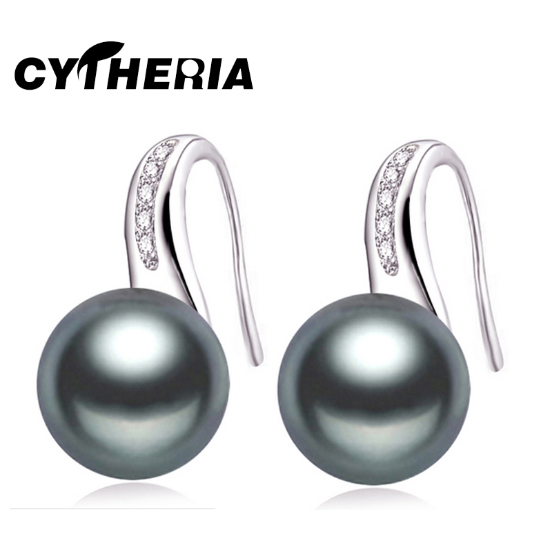 100% Genuine Natural Pearl earrings for women freshwater black pearl earrings silver 925 earrings jewelry daughter birthday gift(China (Mainland))