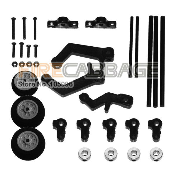 Free Shipping Airwolf 450 Scale Fuselage Accessories Wheels received full package -- Firecabbage(China (Mainland))