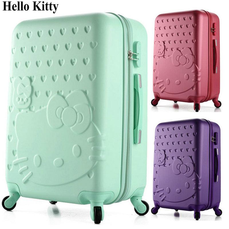 "Girls Hello Kitty Luggage&Women Cartoon Travel Suitcase ABS+PC Universal Wheels Trolley Luggage Bag 20""24"" Rolling Luggage(China (Mainland))"