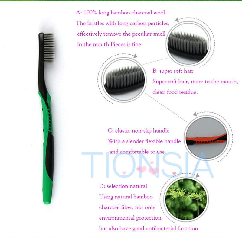 Antibacterial toothbrush soft bamboo carbon black toothbrush 1 PCS