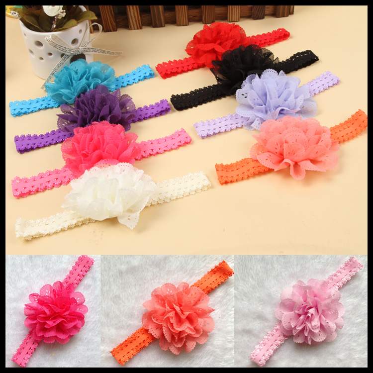 Hot Baby Flower Hair Band Girl Lace Headband Hairband Hair Accessories Many Colors(China (Mainland))