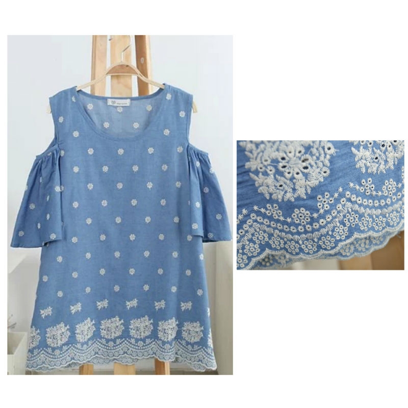 Free Shipping Classic Style Women''s Top Clothing Lace Cording Crochet Blue Blouse(China (Mainland))