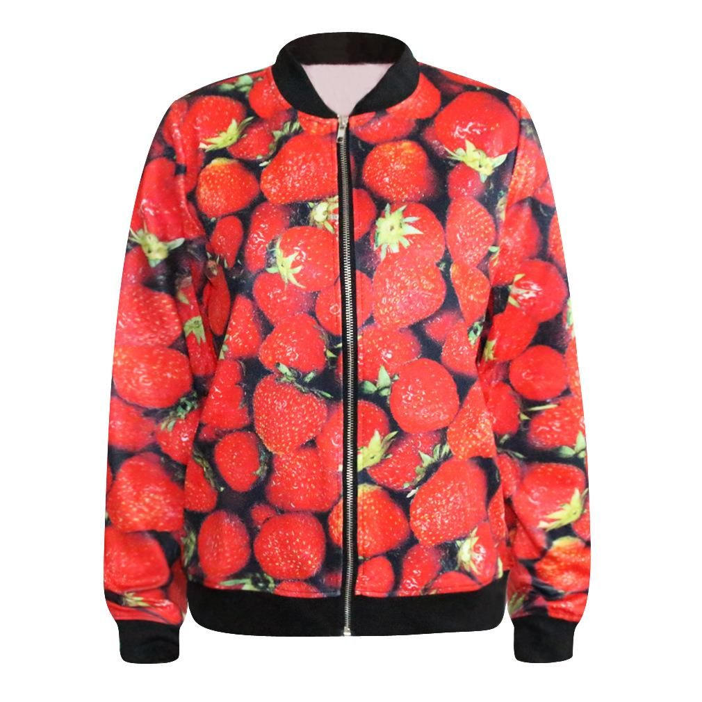 X-3D-Best selling new digital printing baseball jacket red Strawberry zipper fashion loose 3D Print Coats Jackets(China (Mainland))