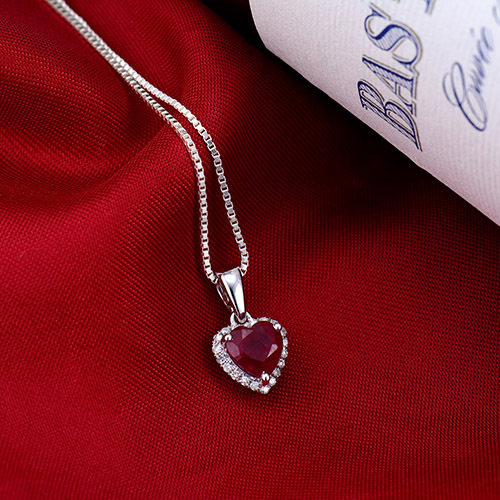 New! Heart 6mm Solid 14K White Gold Diamond Blood Red Ruby Pendant Hot Sale(China (Mainland))