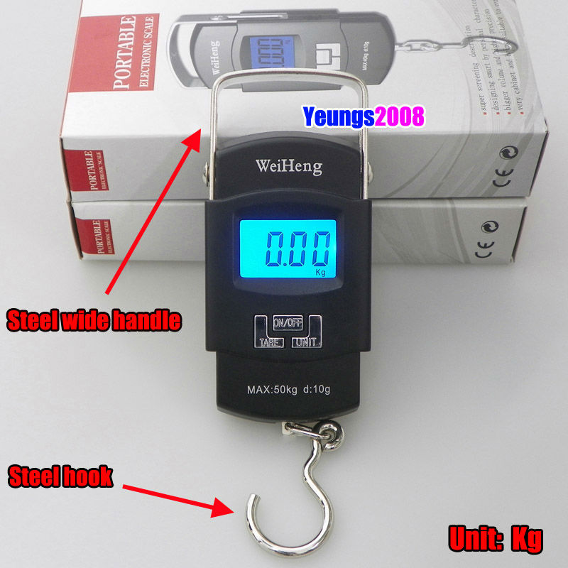Digital Luggage Scale Portable 50KG 5g Backlight Wide Handle Hook Scale KG LB OZ