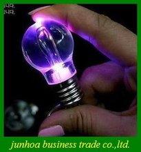 Free Shipping Novelty LED Light Bulb Shaped Ring Keychain Flashlight Colorful Mini-lights Lamp(China (Mainland))