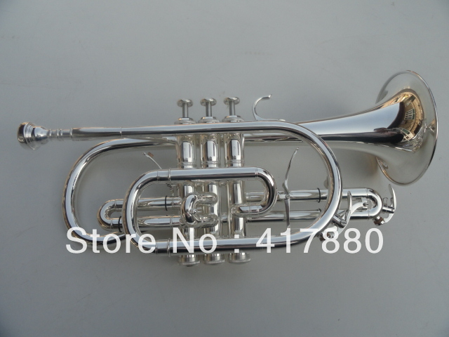 manufacturer wholesale B flat double trigger cornet silver plated<br><br>Aliexpress