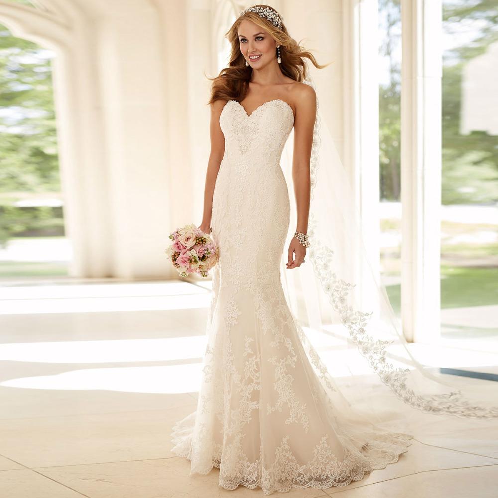 Новое поступление кружева свадебное платье милая Vestido Novia быстрая доставка Casamento русалка свадебные платья мантия мантия-де-mariage 2015