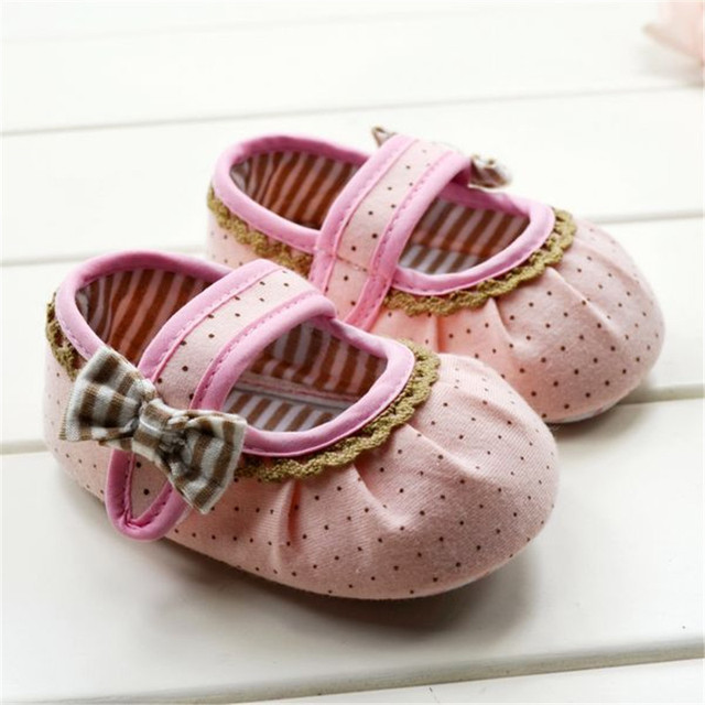 Супер детские младенческой девочек мягкое дно обувь горошек цветок малыша детская ...