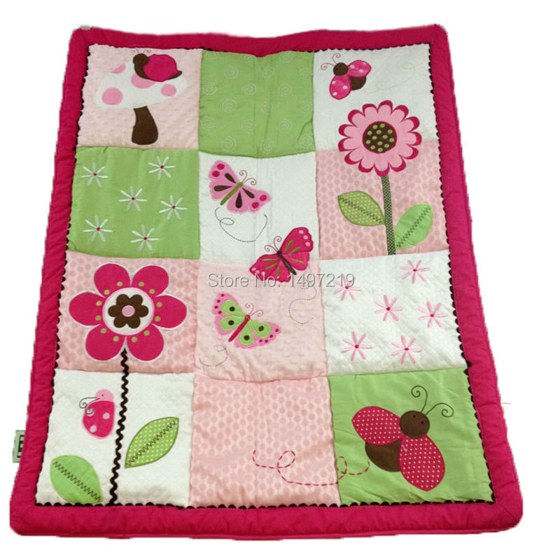 Baby quilt butterfly and flower pattern applique embroidery red color PH041(China (Mainland))