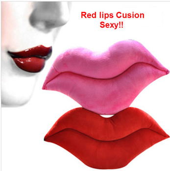 Throw pillows Sexy red/pink lips cartoon plush toy cushion lumbar pillow Plush Lips Cushion gift-2013Hotsale-Wholesale[E02051]